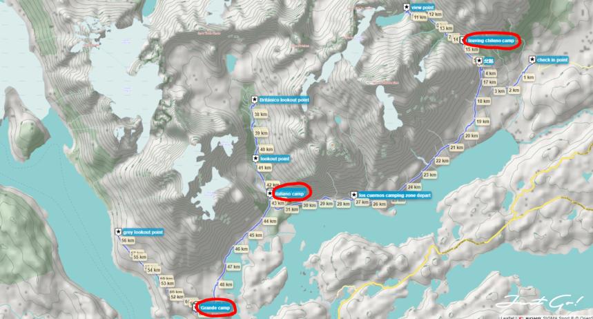 智利 - 百內國家公園W健行自助路線地圖